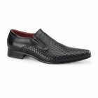 Rossellini MONTIAGO Mens Pointed Loafers Weave Black