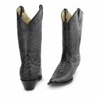 Grinders CAROLINA Mens Croc Leather Cuban Heel Cowboy Boots Black