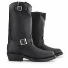 Grinders REBEL Unisex Leather Buckle Biker Boots Black