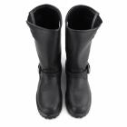 Grinders TURBO Mens Leather Buckle Biker Boots Black