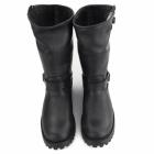 Grinders WILD ONE Unisex Leather Buckle Biker Boots Black