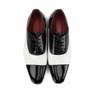 Rossellini MARIO Mens Patent Faux Leather Oxford Shoes Black/White