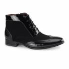 Rossellini MONTEZ Mens Brogue Patent Faux Leather Boots Black