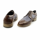 Carvelos CATANIA Mens Leather Tweed Brogues Light Brown/Grey