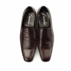 Carvelos VIBORA Mens Leather Slip On Snake Effect Shoes Bordo