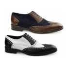 Carvelos SANTA MARIA Mens Leather Oxford Semi-Brogues Black/White