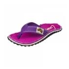Gumbies ISLANDER Ladies Canvas Flip Flops Purple Signed