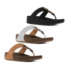 FitFlop™ PETRA™ Ladies Leather Decorative Toe Post Sandals Black