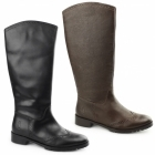 Hush Puppies EMILIA Ladies Leather Brogue Tall Boots Brown