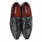 Giovanni SANTORO Mens Faux Sankeskin Buckle Loafers Black