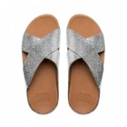 FitFlop™ CRYSTALL™ SLIDE Ladies Crossover Sandals Silver