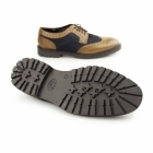 Base London CONFLICT Mens Leather Brogue Shoes Tan/Navy