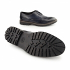 Base London BARRAGE Mens Washed Leather Derby Shoes Blue