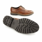 Base London TRENCH Mens Washed Leather Brogue Shoes Tan