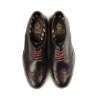 Base London TRENCH Mens Washed Leather Brogue Shoes Bordeaux