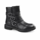 Hush Puppies JANE KLAIN Ladies Leather Biker Boots Black