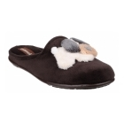 Cotswold HYDE Ladies Novelty Dog Mule Slippers Brown