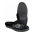 Mirak ROUEN Ladies Faux Fur Floral Mule Slippers Black