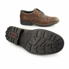 Rieker 16002-26 Mens Leather Lace-Up Wide Fit Shoes Brown