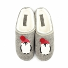 Fluffys NORTH POLE Ladies Penguin Novelty Mule Slippers Grey