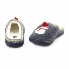 Fluffys NORTH POLE Ladies Snowman Novelty Mule Slippers Navy