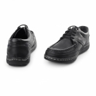 Hush Puppies VINES VICTORY Mens Leather Moccasin Lace-Up Shoes Black