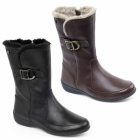 Padders CAMDEN Ladies Leather Extra Wide Faux Fur Boots Black
