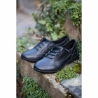Padders GLADE Ladies Leather Extra Wide Lace Up Shoes Black