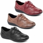 Padders GLADE Ladies Leather Extra Wide Lace Up Shoes Brown