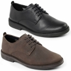 Padders JAMIE Mens Leather Wide Derby Shoes Black