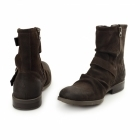 Base London METAL RUSTIC Mens Greasy Suede Biker Boots Cocoa