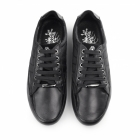 BambooA CHROME II Mens Leather/Webbing Lace Up Trainer Shoes Black