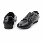 BambooA TRENTO Mens Shine Leather Lace Up Trainer Shoes Black