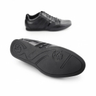 BambooA ASTI Mens Leather Panel Lace Up Trainer Shoes Black
