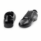 BambooA FIRENZE Mens Leather/Webbing Lace Up Trainer Shoes Black