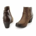 Earth Spirit MONTGOMERY Ladies Leather Reptile Zip Ankle Boots Bark