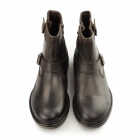 Base London ZINC RUSTIC Mens Leather Zip Biker Boot Brown