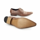 Gucinari LUCIANO Mens Leather Lace-Up Pointed Shoes Tan