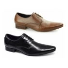 Gucinari LUCIANO Mens Leather Lace-Up Pointed Shoes Black