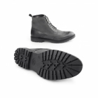 Base London TROOP Mens Washed Leather Brogue Derby Boots Black