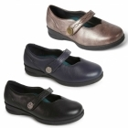 Padders KAY Ladies Leather Super Wide Plus Mary Jane Shoes Rose Gold