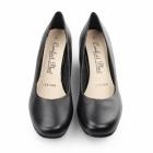 Comfort Plus MARGO Ladies Leather Wide Fit Wedge Heels Black