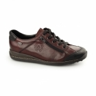 Rieker 44221-00 TEX Ladies Leather Lace Up Trainers Red Combi