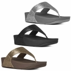 FitFlop™ LULU SUPERGLITZ™ Ladies Shimmer Toe Post Sandals Silver