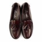 Carvelos PABLO Mens Leather Tassel Loafers Bordo