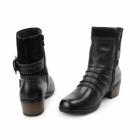 Earth Spirit EDMUND Ladies Side Zip & Buckle Up Ankle Boots Black