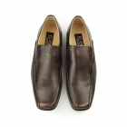 Goor MAXWELL Mens Faux Leather Tramline Loafers Brown