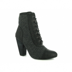 JESSICA Ladies Herringbone Pattern Lace Boots Grey