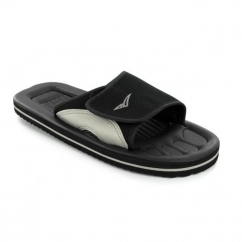 Unisex Velcro Strap Beach Flip Flops Black