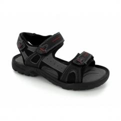 ROLAND Mens Faux Suede Triple Velcro Sports Sandals Black